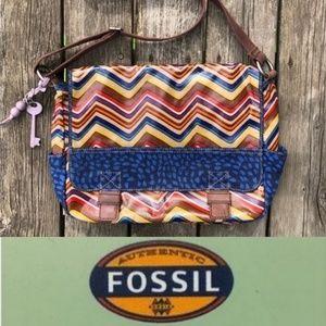 Fossil Key-Per Chevron Messenger Bag Multi Color